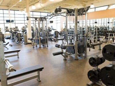 Photo of exercise equipment in a gym.