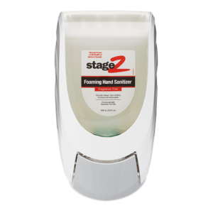 Front view of white wall dispenser for foaming hand sanitizer.