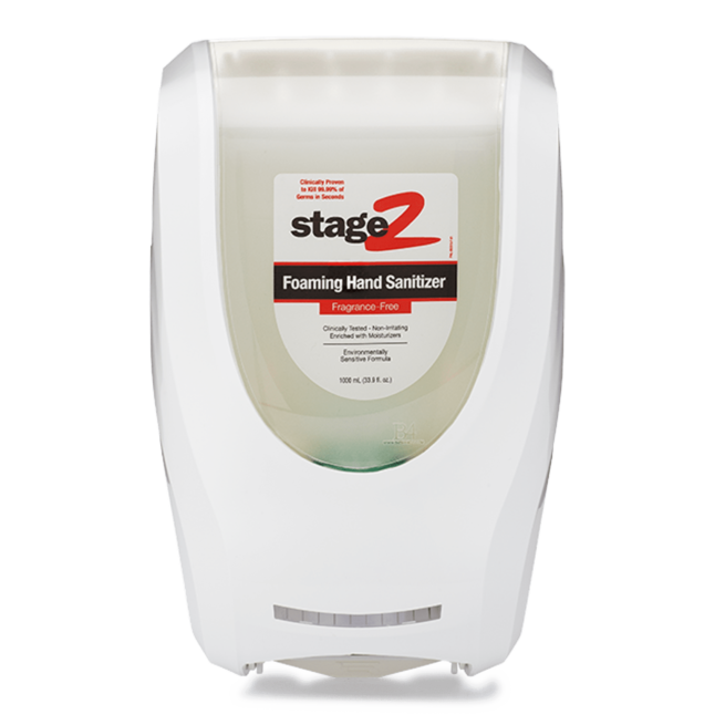 Front view of white foaming hand sanitizer dispenser.