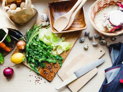 Fresh food and kitchen utensils.