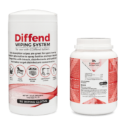 Front view of Diffend Wiping System wipes and CDiffend Disinfectant Tablets.