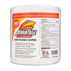 Front view of Advantage Sanitizing Wipes.