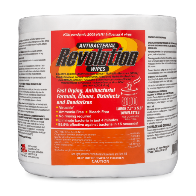 Front view of Antibacterial Revolution Wipes.