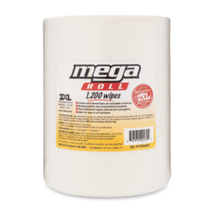 Front view of Mega Roll 1,200 Wipes.