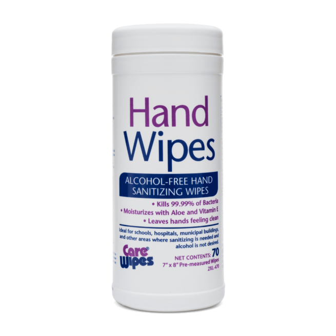 Front view of Hand Wipes Alcohol-Free Hand Sanitizing Wipes.