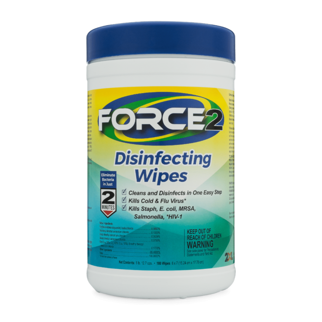 Front view of Force2 Disinfecting Wipes.