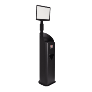 Side view of black 2XL Guardian stand with sign.