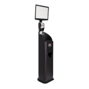Side view of black 2XL Guardian stand with sign and foam dispenser.