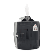Side view of black wall dispenser.