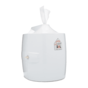 Side view of white wall dispenser.