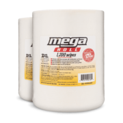 Front view of Mega Roll 1,200 count wipes, group shot.