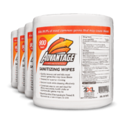 Front view of Advantage Sanitizing Wipes, group shot.