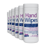 Front view of Hand Wipes Alcohol-Free Hand Sanitizing Wipes, group shot.
